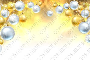 Gold and Silver Christmas Baubles Background