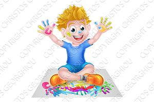 Cartoon Little Boy Painting