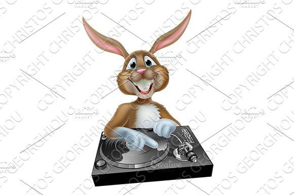 Cartoon Easter Bunny DJ