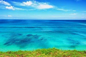 blue ocean with blue sky horizon