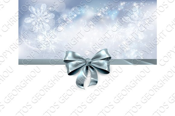 Bow And Snowflakes Christmas Background