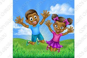 Happy Cartoon Black Kids Jumping
