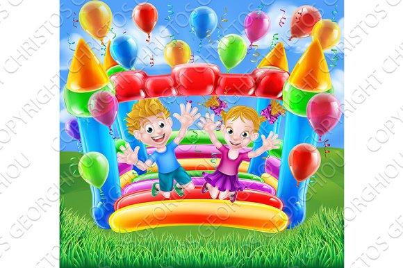 Kids Jumping On Bouncy Castle