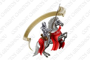 Medieval Spear Knight on Horse