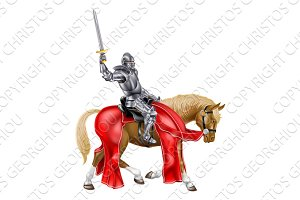Medieval Sword Knight on Horse