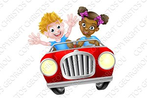 Cartoon Characters Driving Car