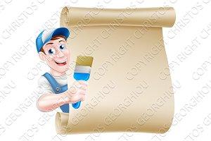 Cartoon Painter Decorator Scroll