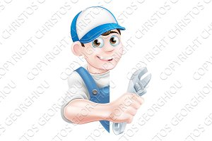Plumber Mechanic Cartoon Man