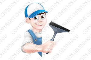 Cartoon Window Cleaner