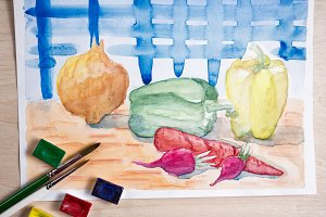 Still life with watercolor paint