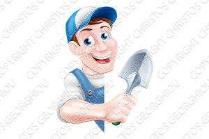 Cartoon Trowel Gardener