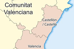 Map of Comunidad Valenciana