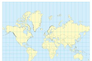 Map of the world Mercator