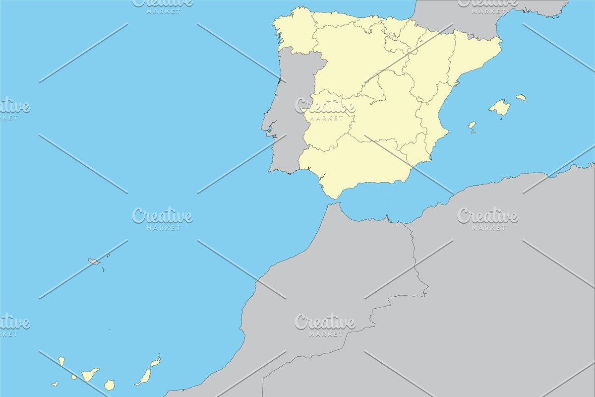 Map Of Spain And Surrounding Islands.Map Of Spain With Islands