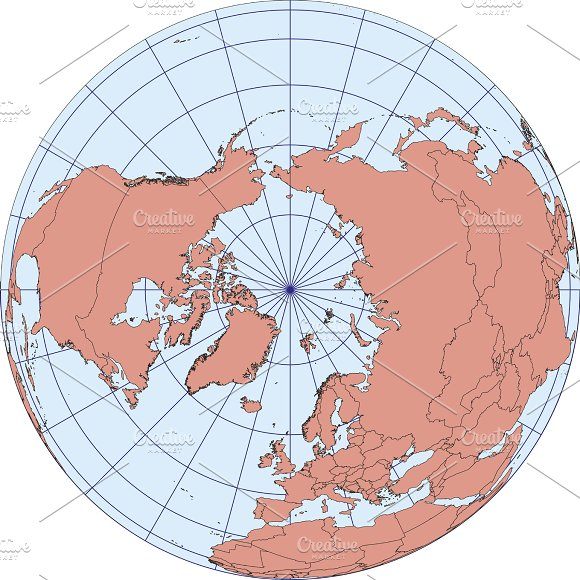 Map Centered On The North Pole