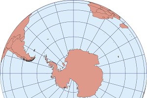 Map centered on South Pole Antarctic