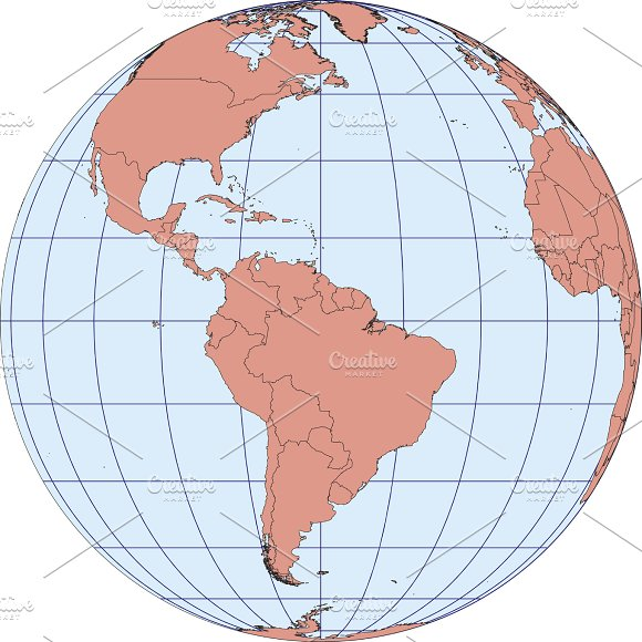 Map Centered On South America
