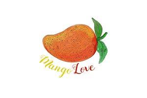 Mango Love Fruit Watercolor Mandala