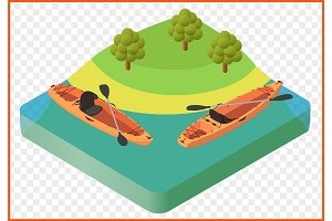 kayak boat vector