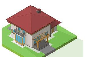 house suburban exterior vector isometric