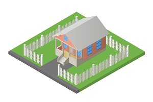 house isometric 3d illustration vector