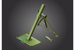 Mortar weapon isometric vector military