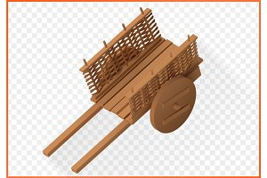 wooden wheelbarrow isometric vector 3d