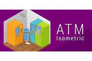 ATM isometric flat vector 3d
