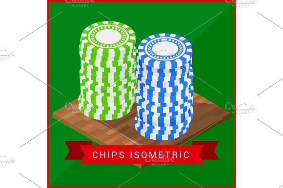 Stacked Pocker Chips Isometric Flat