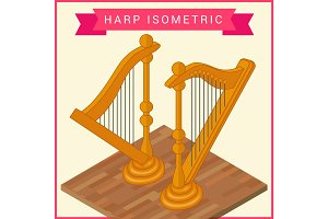 Harp flat isometric vector icon
