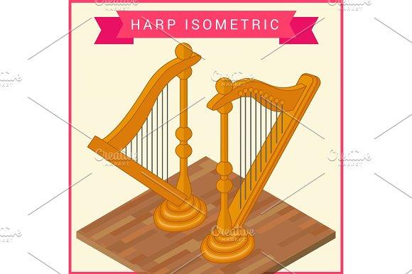 Harp flat isometric vector icon