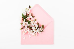 Pink envelope with flowers