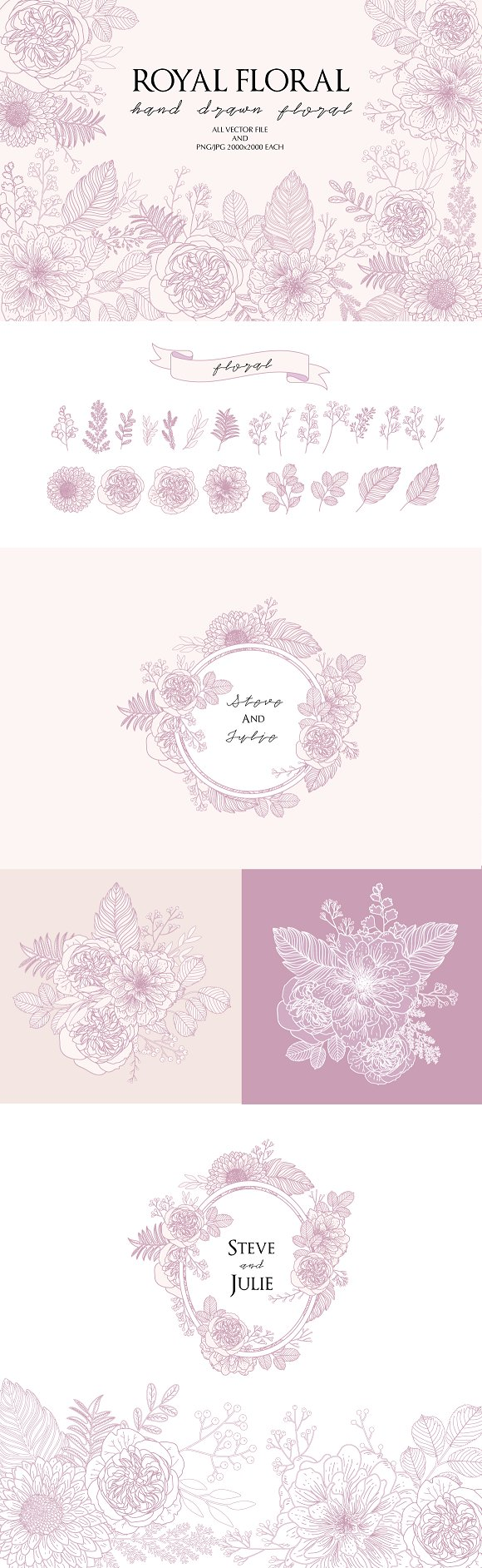 Hand drawn floral PINK