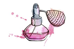 Pink perfume bottle with pump