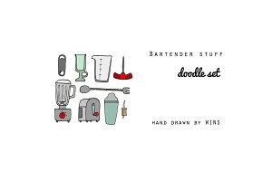 Bartender stuff Doodle Set