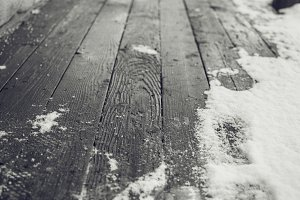 Wood Planks with Snow