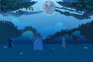 Cemetery night background