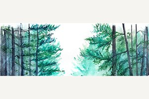 Watercolor winter forest landscape