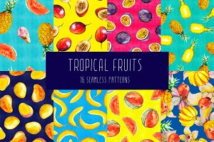 Tropical Fruits Seamless Patterns