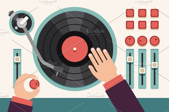 Turntable With Dj Hands