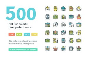Colorful Flat Line Icons