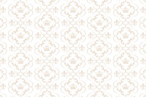 Seamless Damask Wallpaper, Beige