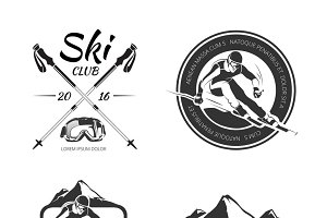 Vintage winter sports logos set