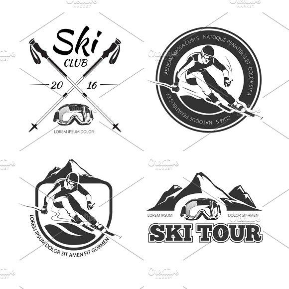 Vintage Winter Sports Logos Set