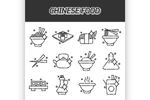 Chinese food concept icons
