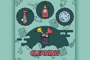 Cleaning flat concept icons