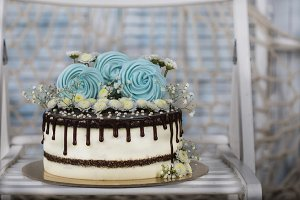 birthday cake in soft blue colors
