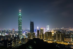 Taipei City Night Scene Landscape, Taipei 101 is the symbol of Taiwan (Republic of China)