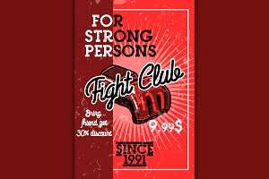 Color vintage fight club banner
