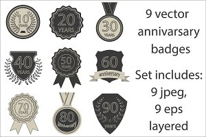 Set of vector anniversary badges